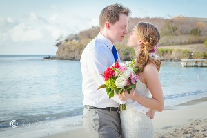 Buccaneer St. Croix bride and groom mermaid beach