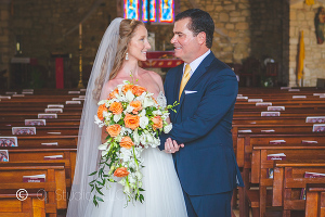 Bride and Groom portrait inside Holy Cross Church St. Croix